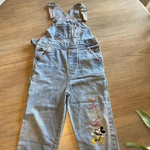 Girls Disney Denim Overalls Micky Embroidered